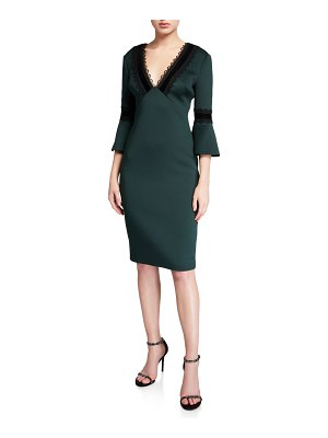 Badgley Mischka Collection Lace-Trim V-Neck Trumpet-Sleeve Scuba Dress