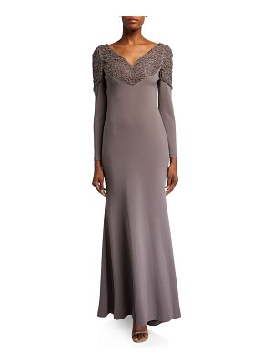 Badgley Mischka Collection Laser Beaded Embellished Long-Sleeve Scuba Gown