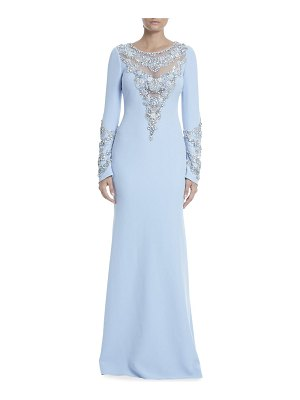 Badgley Mischka Collection Long-Sleeve Beaded Illusion Gown