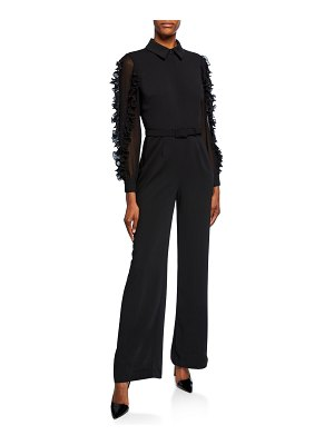 Badgley Mischka Collection Long-Sleeve Belted Ruffle Jumpsuit