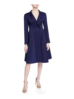 Badgley Mischka Collection Long-Sleeve Double-Breasted Fit-&-Flare Scuba Coat Dress