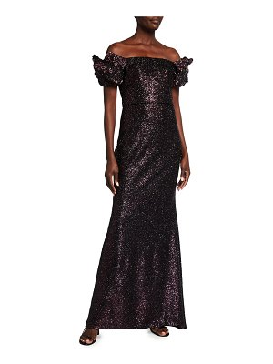 Badgley Mischka Collection Looped Off-the-Shoulder Sequin Gown