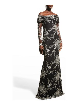 Badgley Mischka Collection Metallic Embroidered Off-the-Shoulder Gown