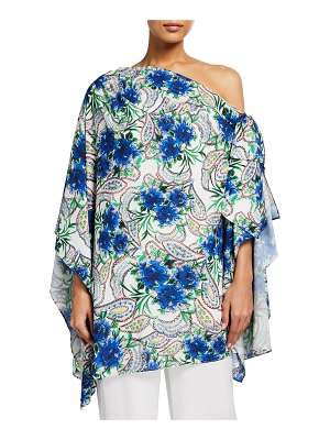 Badgley Mischka Collection Off-Shoulder Floral Paisley Bow Top