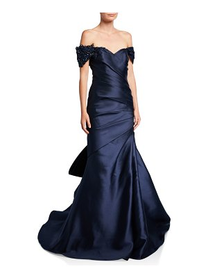 Badgley Mischka Couture Off-the-Shoulder Bow-Back Ruched Gown with Beaded Detail