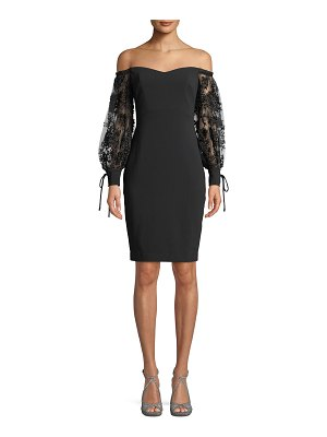 Badgley Mischka Collection Off-the-Shoulder Dress w/ 3D Embroidered Sleeves