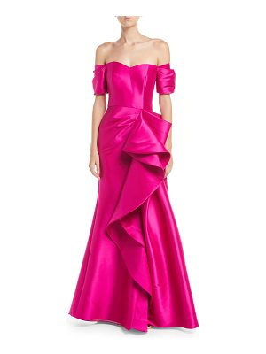 Badgley Mischka Collection Off-the-Shoulder Gown w/ Dramatic Ruffle