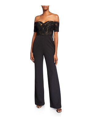 Badgley Mischka Collection Off-the-Shoulder Lace Corset Top Jumpsuit