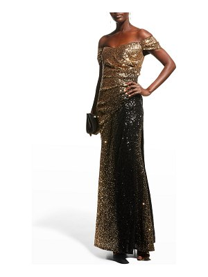 Badgley Mischka Collection Off-the-Shoulder Ombre Sequin Gown