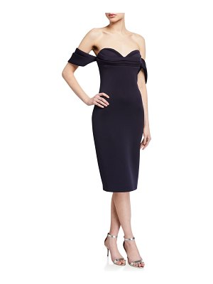 Badgley Mischka Collection Off-the-Shoulder Pleated Bustier Scuba Dress