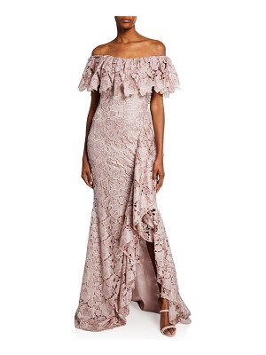 Badgley Mischka Collection Off-the-Shoulder Short-Sleeve Floral Lace Ruffle Gown