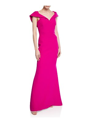 Badgley Mischka Collection Off-the-Shoulder Short-Sleeve Mermaid Gown