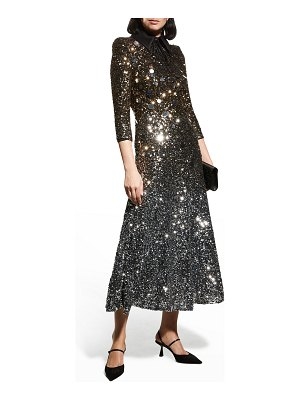 Badgley Mischka Collection Ombre Sequin 3/4-Sleeve Collared Dress
