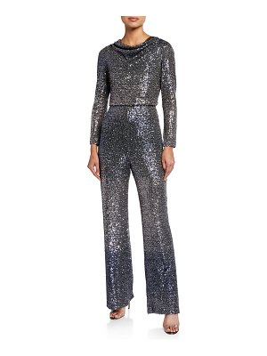 Badgley Mischka Collection Ombre Sequin Cowl-Neck Long-Sleeve Jumpsuit