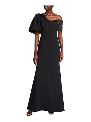 Badgley Mischka Collection One-Shoulder Embellished Crepe Gown