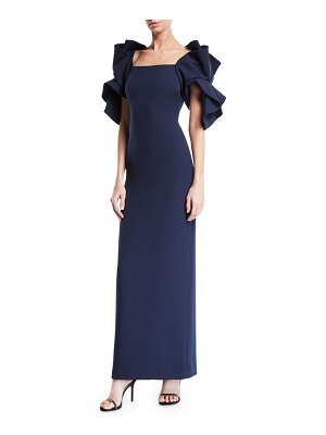 Badgley Mischka Collection Origami Sleeve Gown