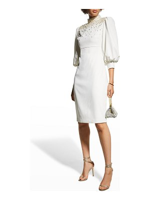 Badgley Mischka Collection Pearly Mock-Neck Puff-Sleeve Crepe Dress