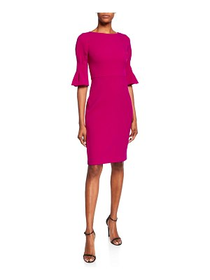Badgley Mischka Collection Pinched Elbow-Sleeve Sheath Dress
