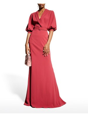 Badgley Mischka Collection Puffed Elbow-Sleeve Crepe Gown