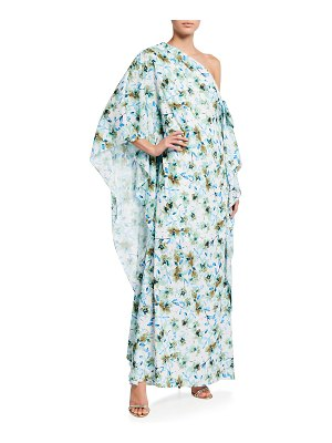 Badgley Mischka Collection Reo Floral One-Shoulder Caftan Gown