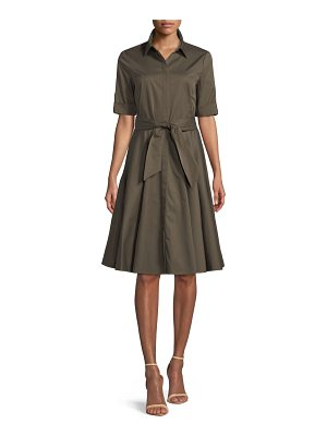 Badgley Mischka Collection Safari Belted Fit-&-Flare Shirtdress