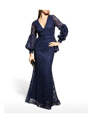 Badgley Mischka Collection Scalloped V-Neck Puff-Sleeve Lace Peplum Gown