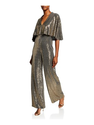 Badgley Mischka Collection Sequin Butterfly Jumpsuit