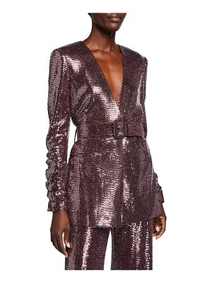 Badgley Mischka Collection Sequin Crush-Sleeve Belted Jacket