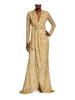 Badgley Mischka Collection Sequin Long-Sleeve Wrap Gown