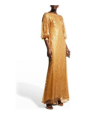 Badgley Mischka Collection Sequin Puff-Sleeve Gown