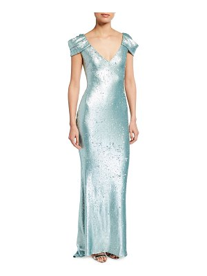 Badgley Mischka Collection Sequined Draped-Sleeve Gown