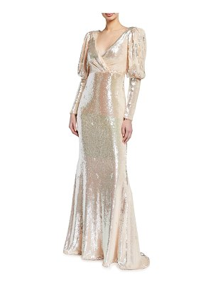Badgley Mischka Collection Sequined Puff-Sleeve Gown