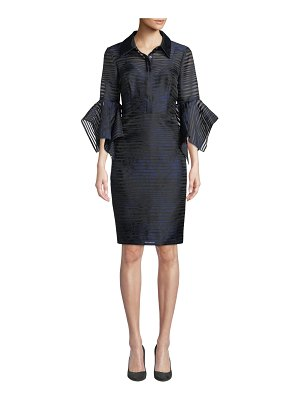 Badgley Mischka Collection Sheer Striped Trumpet-Sleeve Shirtdress