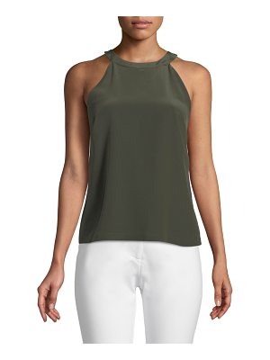 Badgley Mischka Collection Silk Slipover Halter Top