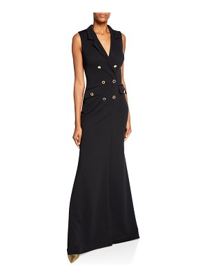 Badgley Mischka Collection Sleeveless Double-Breasted Coat Gown