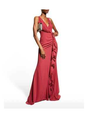 Badgley Mischka Collection Sleeveless Pompom Ruffle Gown