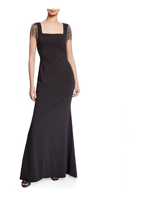 Badgley Mischka Collection Square-Neck Beaded Fringe Sleeve Crepe Gown