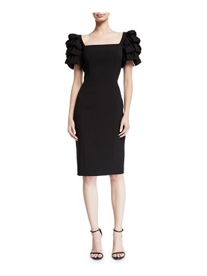 Badgley Mischka Collection Square-Neck Cocktail Dress w/ Looped Sleeves