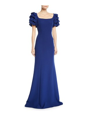 Badgley Mischka Collection Square-Neck Gown w/ Looped Sleeves
