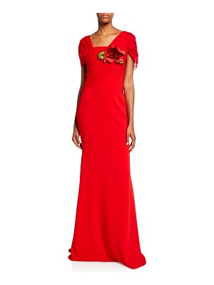 Badgley Mischka Collection Square-Neck Grecian Drape Short-Sleeve Gown