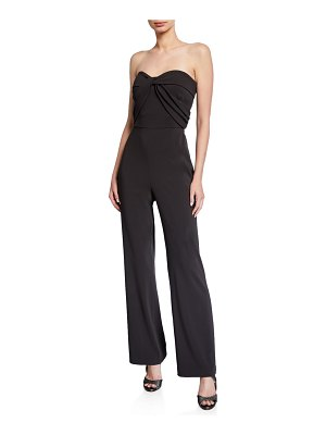 Badgley Mischka Collection Strapless Bow-Front Crepe Jumpsuit