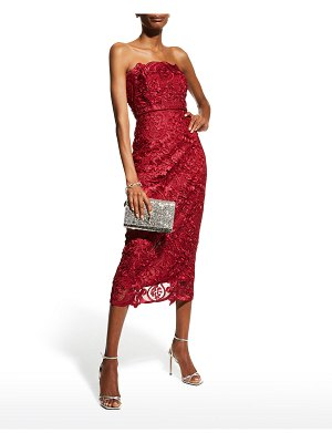 Badgley Mischka Collection Strapless Guipure Lace Midi Dress