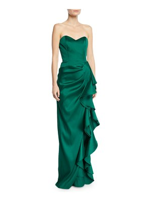 Badgley Mischka Collection Strapless Sweetheart Sculpted Asymmetric Ruffle Gown