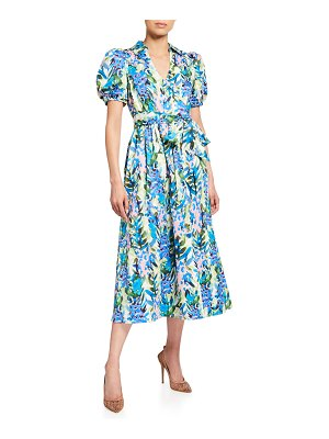 Badgley Mischka Collection Stripe Floral Puff-Sleeve Belted Midi Dress