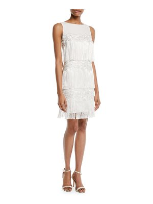 Badgley Mischka Collection Tiered Fringe Cocktail Flapper Dress