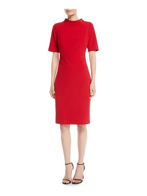 Badgley Mischka Collection Turn-Lock Faille Short-Sleeve Sheath Dress