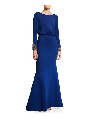 Badgley Mischka Collection V-Back Long-Sleeve Beaded-Cuff Gown w/ Bow Detail