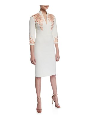 Badgley Mischka Collection V-Neck 3/4-Sleeve Scuba Dress w/ Lace Embroidery