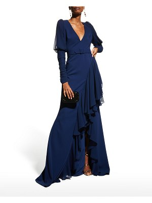 Badgley Mischka Collection V-Neck Crepe & Georgette Ruffle Gown