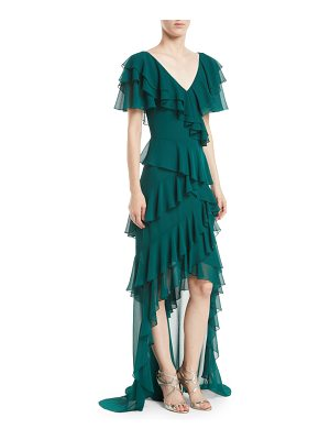 Badgley Mischka Collection V-Neck Draped Ruffle Gown